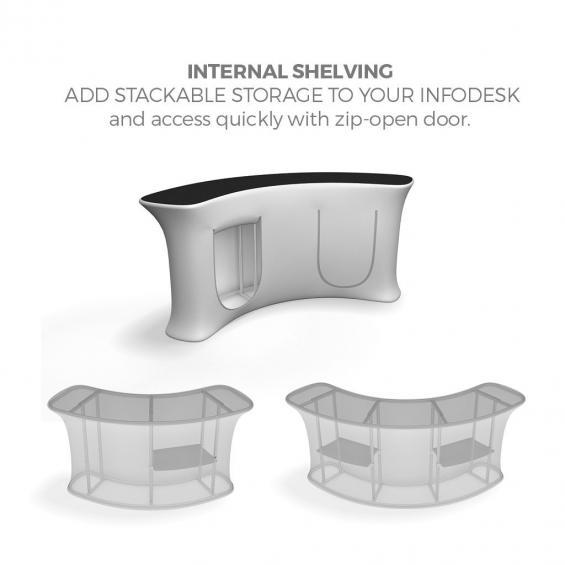 FabTex Infodesk counter curved shelving