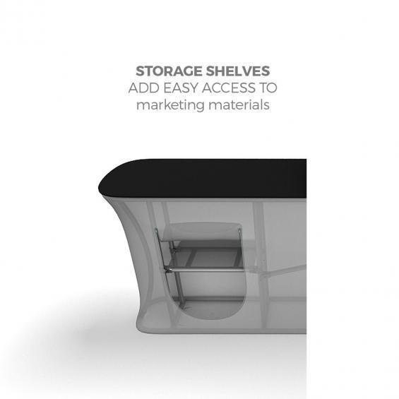 FabTex Infodesk counter straight shelving