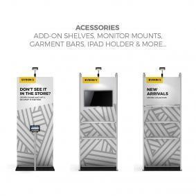 FabTex Retail merchandiser pop up store banner stand 89 acessories