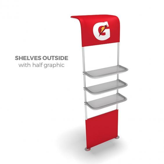 FabTex waveline waterfall trade show display shelving for exhibits 3