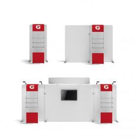 FabTex waveline waterfall trade show display shelving for exhibits 4